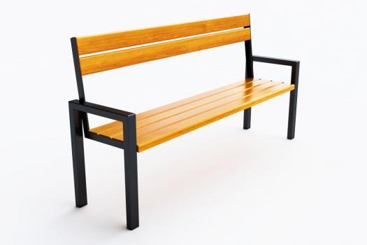 Metalowa ławka parkowa z drewnianym siedziskiem. Fot. Eco-Market
