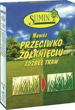 Nawóz SUMIN przeciw żółknięciu źdźbeł trawy. Waga 1kg.