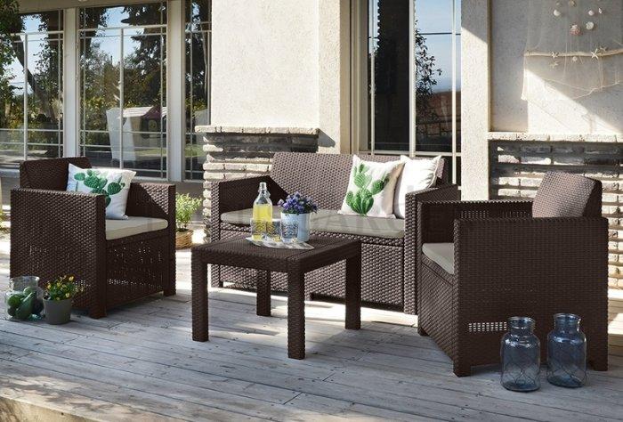 zestaw mebli ogrodowych z technorattanu - stół i fotele